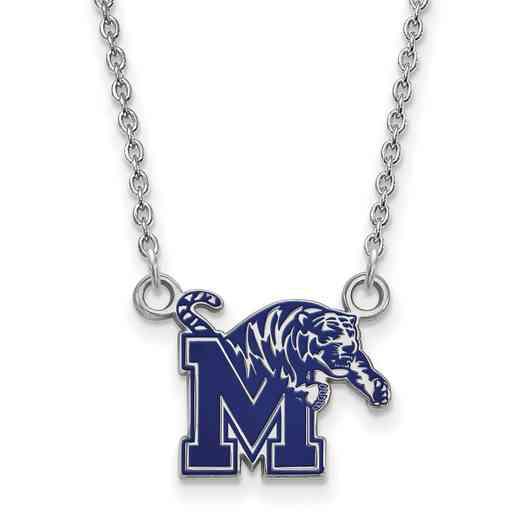 SS063UMP-18: SS LogoArt U of Memphis SML Enamel Pendant w/necklace