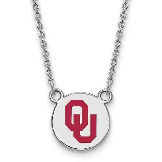 SS043UOK-18: SS LogoArt Oklahoma SML Enamel Disc Pendant w/Necklace