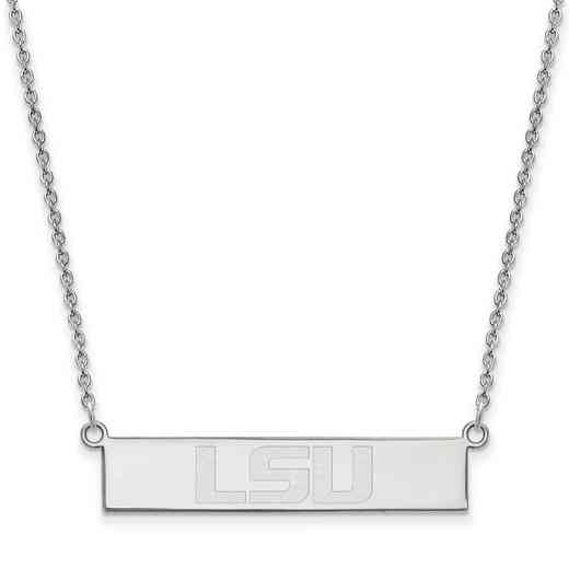 SS095LSU-18: SS LogoArt LSU SML Bar Necklace
