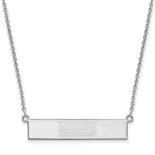 SS038MU-18: SS LogoArt Miami Univ SML Bar Necklace