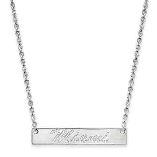 SS039MU-18: SS LogoArt Miami Univ SML Bar Necklace