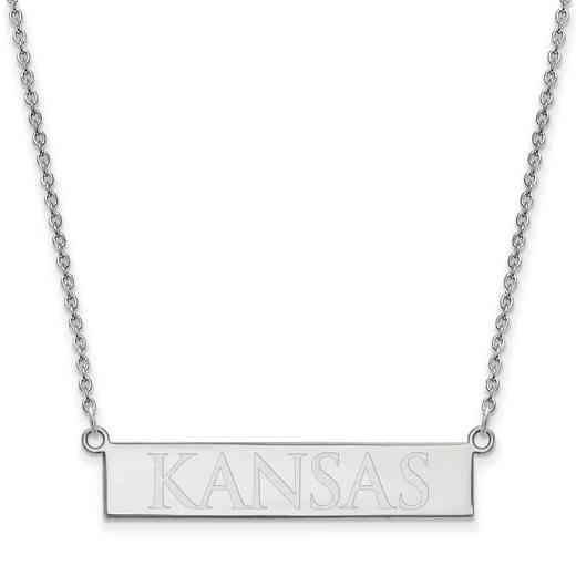 SS079UKS-18: SS LogoArt The Univ of Kansas SML Bar Necklace