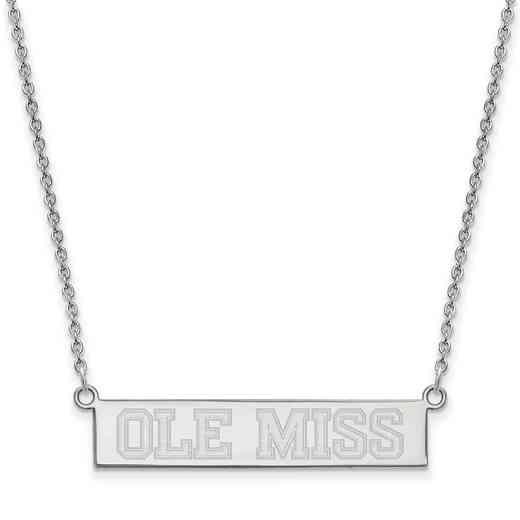 SS085UMS-18: SS LogoArt Univ of Mississippi SML Bar Necklace Ole MIss