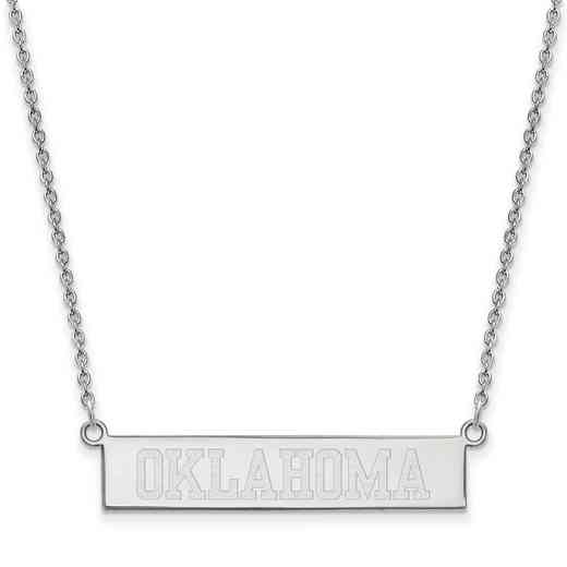 SS061UOK-18: SS LogoArt The Univ of Oklahoma SML Bar Necklace