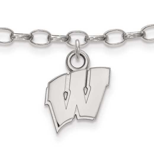 SS030UWI: Sterling Silver LogoArt University of Wisconsin Anklet