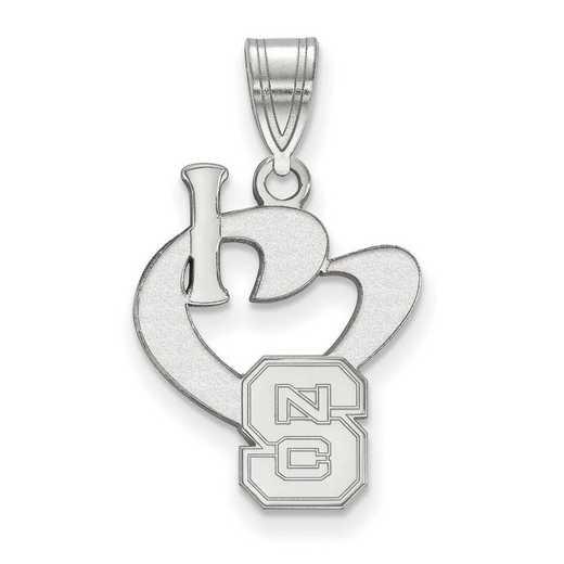 SS020NCS: SS LogoArt North Carolina State U Large I Love Logo Pendant