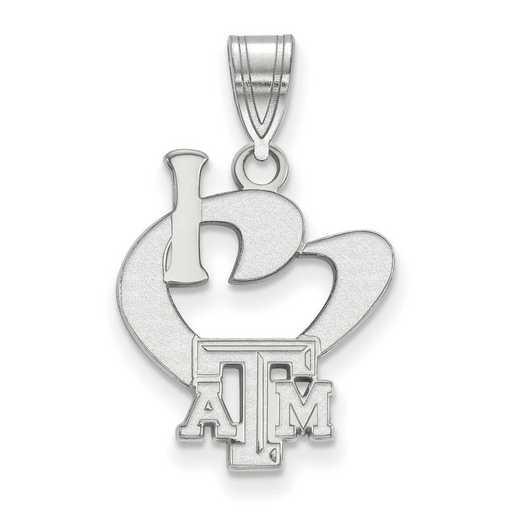 SS014TAM: SS LogoArt Texas A&M Univ Large I Love Logo Pendant