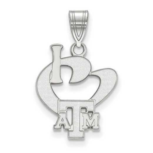 SS063TAM: SS LogoArt Texas A&M Univ Large I Love Logo Pendant