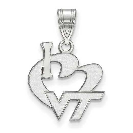 SS014VTE: SS LogoArt Virginia Tech Large I Love Logo Pendant