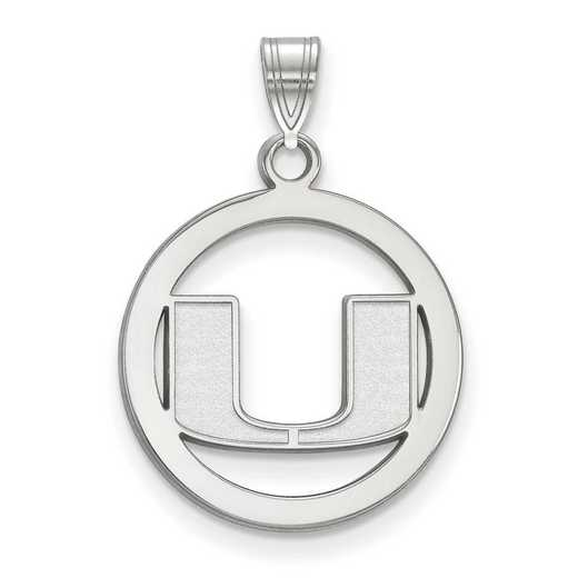 SS033UMF: SS LogoArt Univ of Miami Medium Pendant in Circle