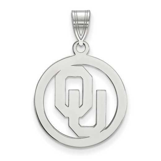 SS032UOK: SS LogoArt Univ of Oklahoma Med Pendant in Circle