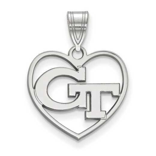 SS011GT: SS LogoArt Georgia Institute of Technology Pendant in Heart