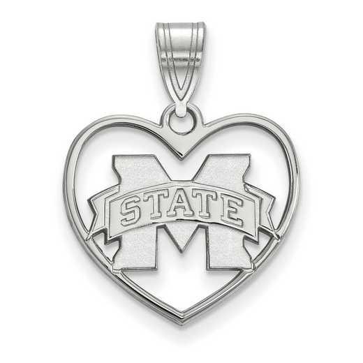 SS017MSS: SS LogoArt Mississippi State Univ Pendant in Heart
