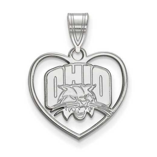 SS013OU: SS LogoArt Ohio Univ Pendant in Heart