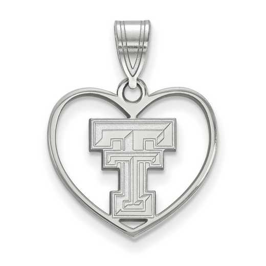 SS017TXT: SS LogoArt Texas Tech Univ Pendant in Heart
