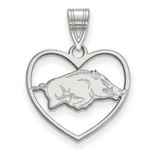 SS016UAR: SS LogoArt Univ of Arkansas Pendant in Heart