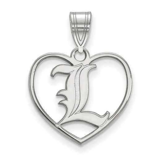 SS013UL: SS LogoArt Univ of Louisville Pendant in Heart