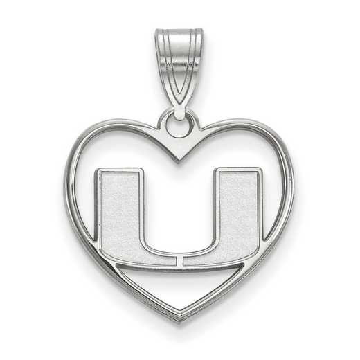 SS017UMF: SS LogoArt Univ of Miami Pendant in Heart