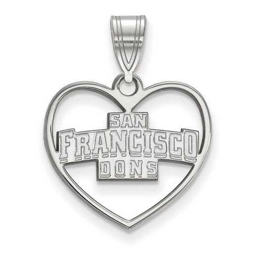 SS012USF: SS LogoArt Univ of San Francisco Pendant in Heart