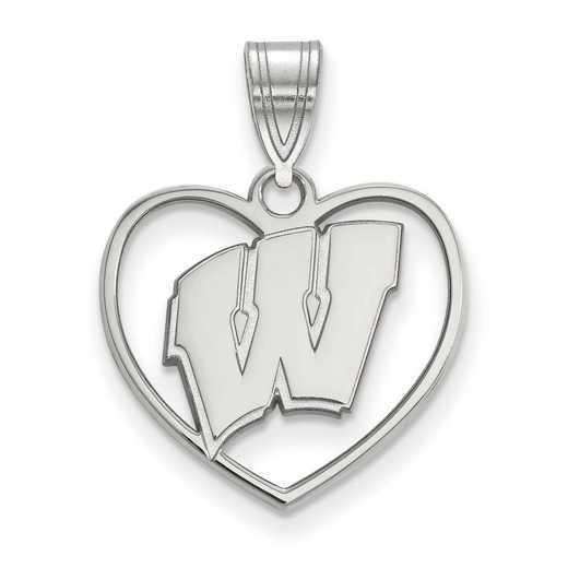 SS017UWI: SS LogoArt Univ of Wisconsin Pendant in Heart