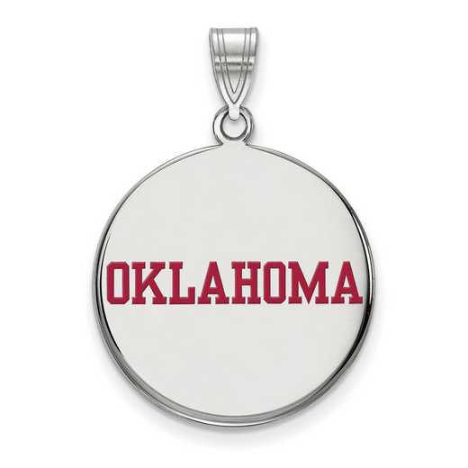 SS056UOK: SS LogoArt Univ of Oklahoma LG Enamel Disc Pendant