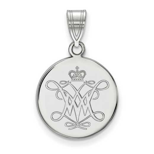 SS006WMA: SS LogoArt William And Mary Medium Disc Pendant