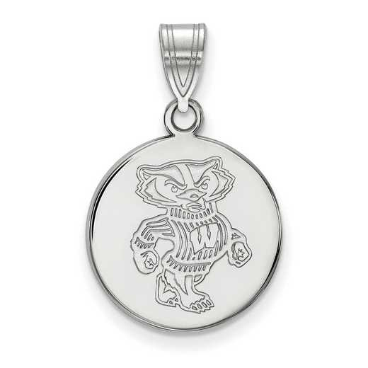 SS086UWI: SS LogoArt Univ of Wisconsin Medium Disc Pendant