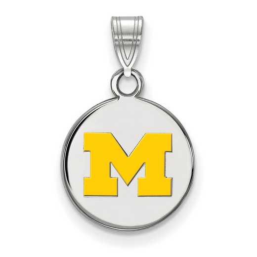 SS035UM: SS LogoArt Michigan (Univ Of) SML Yellow Enamel Disc Pendant