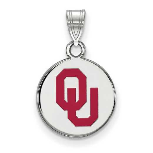 SS035UOK: SS LogoArt Univ of Oklahoma Small Enamel Disc Pendant