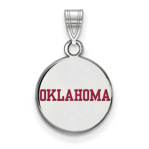 SS052UOK: SS LogoArt Univ of Oklahoma Small Enamel Disc Pendant