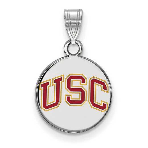SS047USC: SS Univ of Southern California Small Enamel Disc Pendant