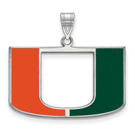 SS032UMF: SS LogoArt Univ of Miami LG Enamel Pendant