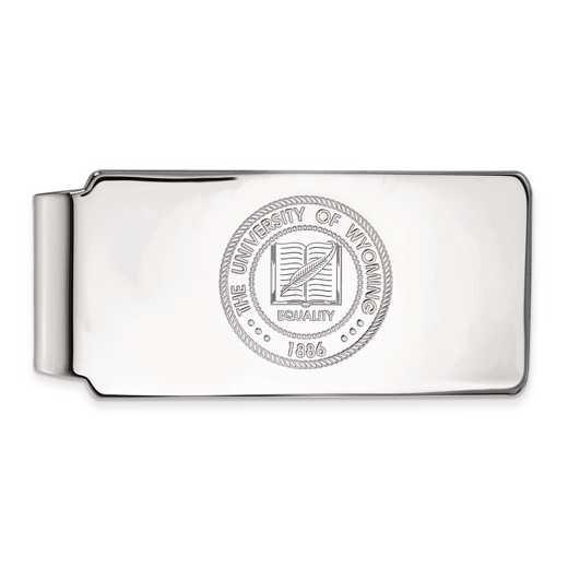 SS021UWY: SS LogoArt The Univ of Wyoming Money Clip Crest