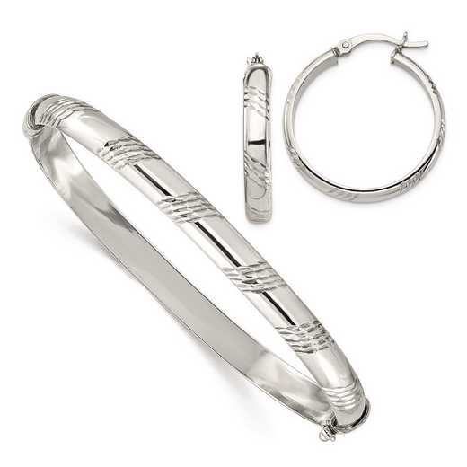 QB1335SET: Sterling Silver D/C Bangle 6mm & Hoop 4mm Earring Set
