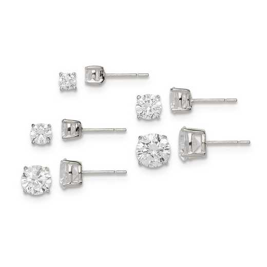 QE12186SET: Sterling Silver Polished White CZ Post Set Earrings