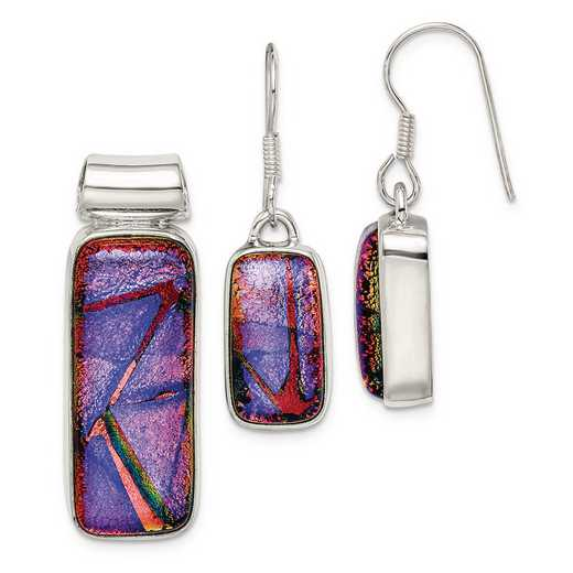 QE6265SET: Sterling S Muliticolor Dichroic Glass Earrings & Pendant Set