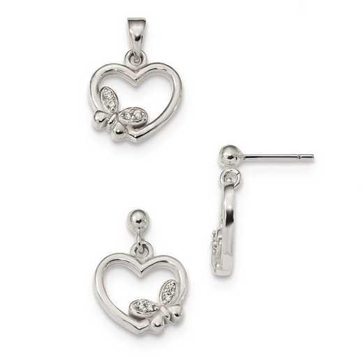 QG4574SET: Sterling Silver CZ Heart Butterfly Pendant & Earring Set