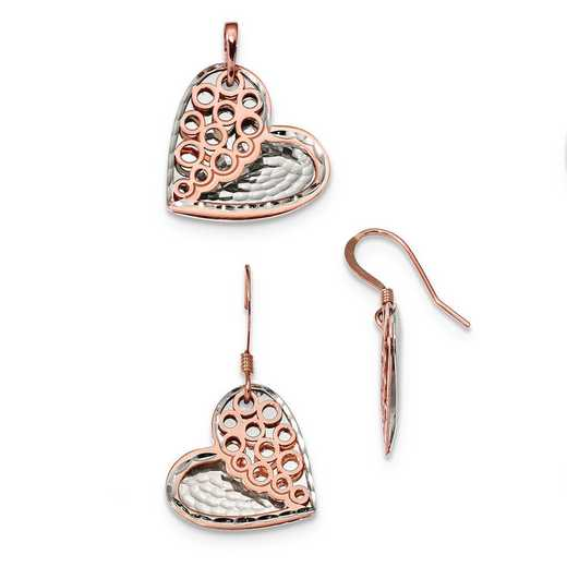 QG4575SET: Sterling Silver & Rose-tone Heart Earrings & Pendant Set