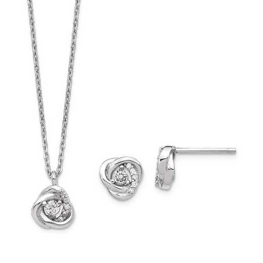 QG5611SET: Sterling Silver CZ Love Knot Earrings & 2in ext Necklace Set