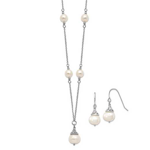 QG5612SET: Sterling Silver 9-10mm FWC Pearl Neckalc/Dangle Earrings Set