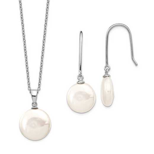 QG5613SET: Sterling Silver 11-13.5mm Coin FWC Pearl Neckl/Earring Set