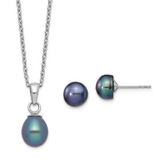 QG5614SET: Sterling Silver 6-7mm Black Pearl Dngl Necklace Earrings Set