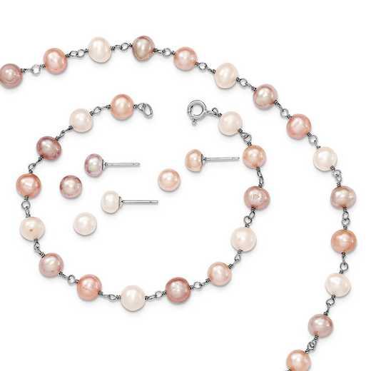 QH4754SET: SS RH White/Pink/Purple FWC Pearl Neck Bracelet & Ear Set