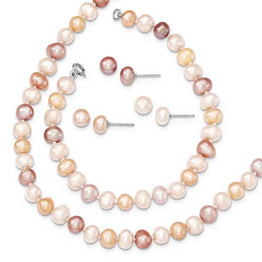 QH4755SET: SS RH White/Pink/Purple FWC Pearl Neck Bracelet & Ear Set