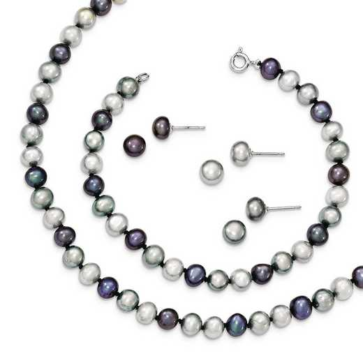 QH4792SET: SS Rhodium FWC Pearl Necklace 7.25 Brace & 3pc Earring Set