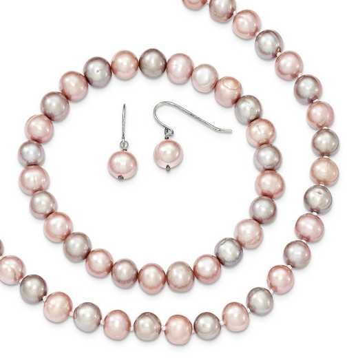 QH4810SET: SS Pink/Grey 7-8mm FW Cultured Potato Pearl 3 Piece Gift Set