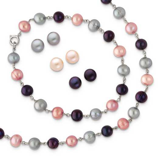 QH4837SET: SS RH Grey/Pink/Black FWC Pearl Neck 7.25 Brace 3pc Earring