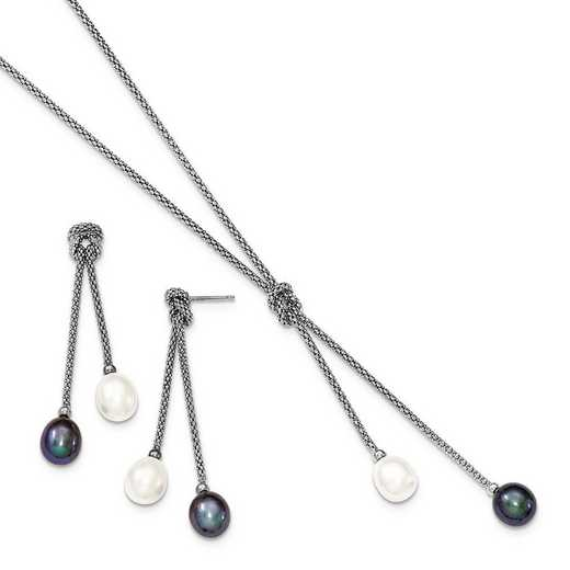 QH4852SET: Sterling Silver FWC Pearl Knot 18 in. Neck & Earring Set