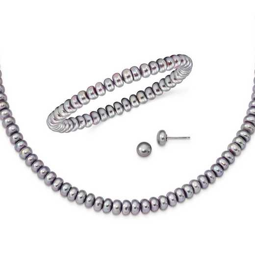 QH4876SET: Sterling Silver Grey 6-7mm FW Cultured Pearl Set