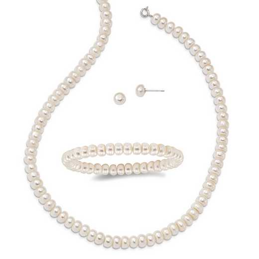 QH4878SET: Sterling Silver White 6-7mm 3 piece FW Cultured Pearl Set